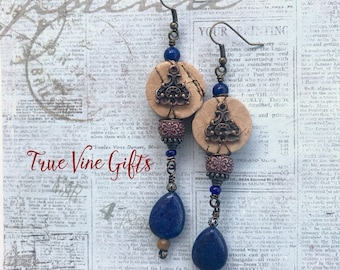 Wine Cork Earrings in Bronze with Navy Beads