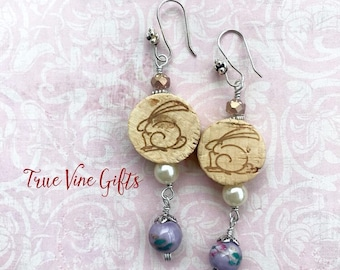 Wine Cork Earrings with Bunnies in Pink