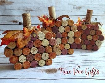 Set of Three Wine Cork Pumpkins