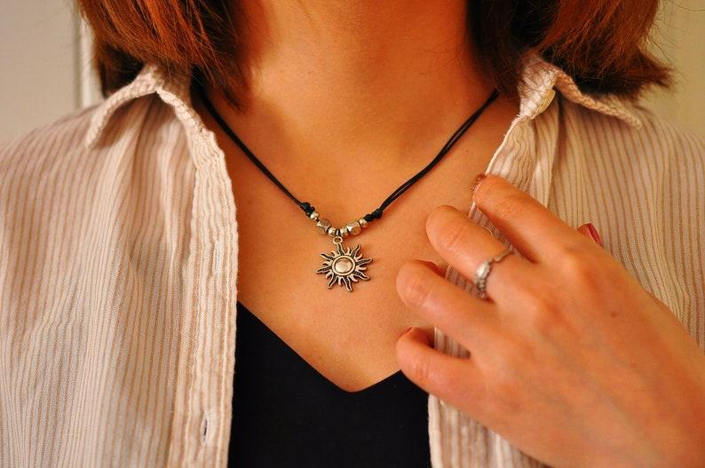 Silver Sun Necklace Pastel Goth Celestial Sun Jewelry Boho Grunge Necklace New Sun Necklace Charm Choker Sun Choker Hippy Necklace