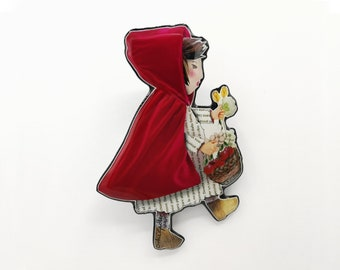 Little Red Riding Hood brooch made in resin from unique paper collage – Handmade in Italy –