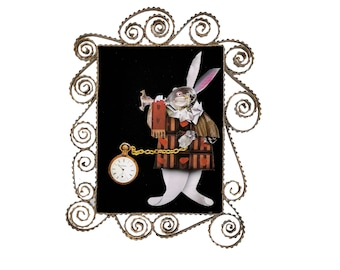 THE WHITE RABBIT-Fairy tales-Paperoles-Paperart-Paper-Home decor-Unique piece-Handmade-Italy-Quilling- Wonderland-Christmas-Natale-watch-