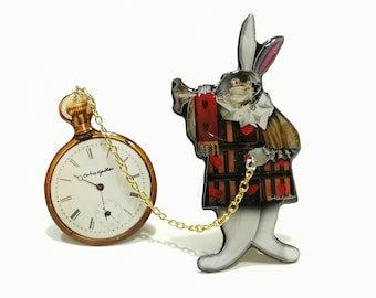 COLLAGE BROOCH: The White Rabbit and the Pocket Watch, Unique resin and paper pin, handmade in Italy