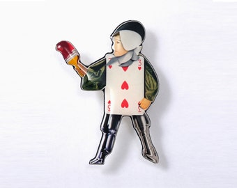 The Playing Card brooch made in resin from unique paper collage – Handmade in Italy –