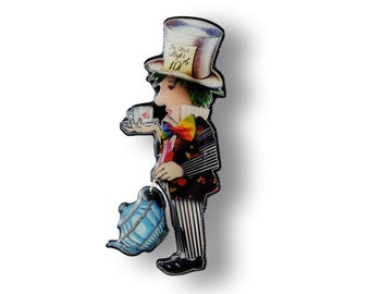 The Mad Hatter brooch made in resin from unique paper collage – Handmade in Italy –