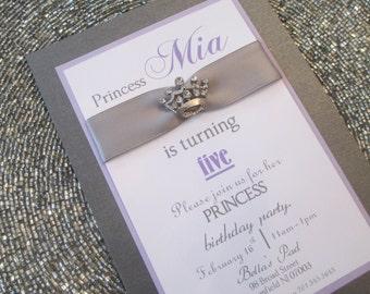 Purple and Silver Princess Birthday Invitation
