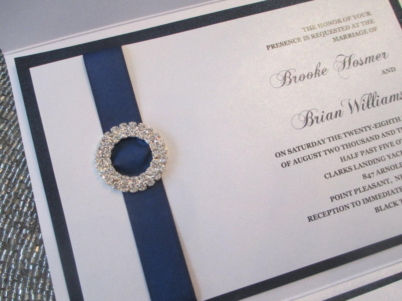 Navy Blue And White Wedding Invitations: Elegant Pocket Wedding Invitation In Navy Blue And White