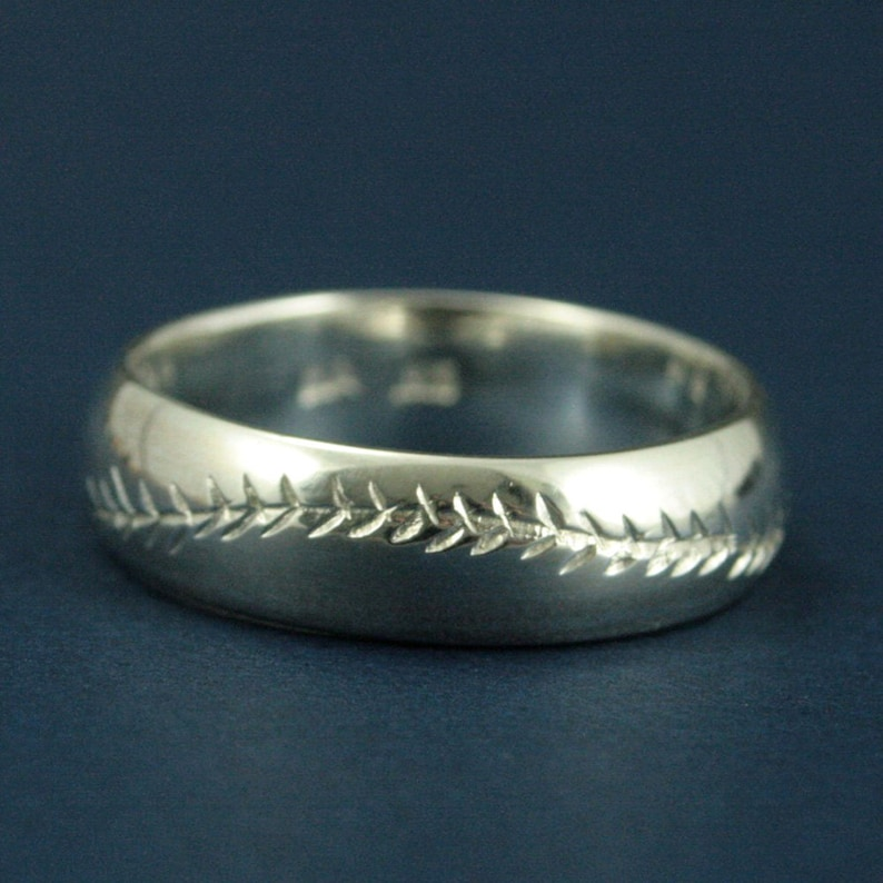America/'s Pastime--6mm Wide--Sterling Silver--Baseball Ring--Hand Cut Baseball Pattern--Hand Made Ring--Men/'s Wedding Band