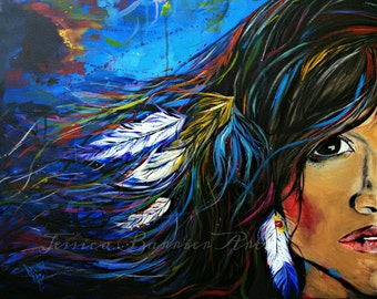 "Whimsical Native American Woman Art Print From My Original Painting Titled ""Have You Ever Seen The Rain"""