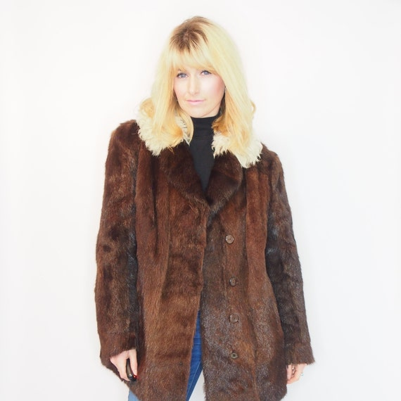 1950s 1960s FAUX FUR COAT - Faux Mink - Fake Fur J