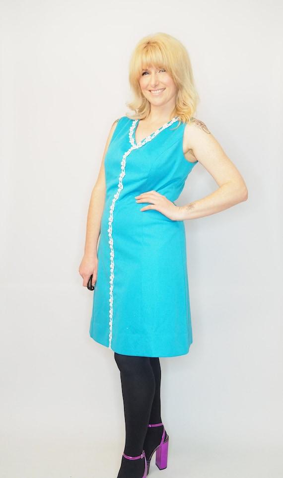 Vintage 60/'s Dress Mini TeaAqua Sleeveless Wrap Bright Mod Gogo UK12 EU38