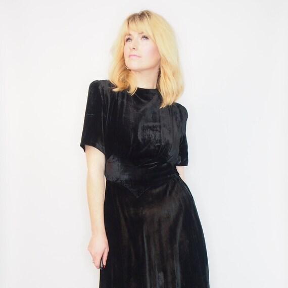 1930s VELVET DECO DRESS - Vintage Evening Dress -