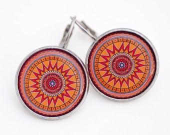 Orange Earrings - Mandala Earrings - Trendy Earrings - Yoga Earrings - Best Friend Gift - Geometric Earrings - Surgical Steel Earrings