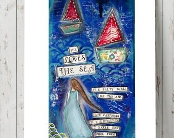 Sea Art Print - Ocean Wall Art - Poetry Art - Mixed Media Art Print - Blue Art Print - Collage Art - Gift for Women - Best Friend Gift