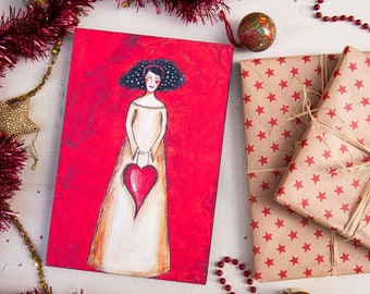 Love Home Decor - Red Wall Decor - Christmas Gift for Women - Wall Art Print - Whimsical Wall Art - Mixed Media Art - Mothers Day Gift
