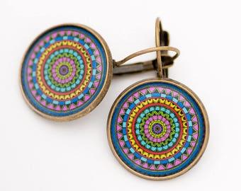 Colorful Earrings - Geometric Earrings - Mandala Earrings - Yoga Earrings - Best Friend Gift - Summer Earrings - Surgical Steel Earrings