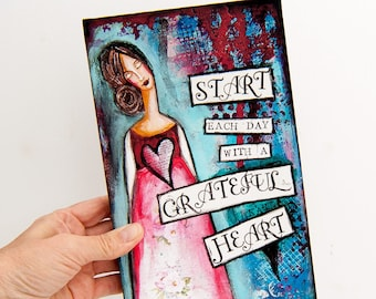 Print of my Mixed Media Art Painting - Graduation Gift  - Print on Wood - Positive Quotes Wall Art - Positive Affirmation - Grateful Heart
