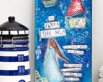Sea Art Print - Ocean Wall Art - Mixed Media Art Print - Blue Art Print - Collage Art - Gift for Women - Best Friend Gift - Mixed Media Art