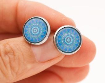 Turquoise Stud Earrings - Turquoise Mandala - Mandala Stud Earrings - Mandala Studs - Surgical Steel Earrings - Geometrical Studs