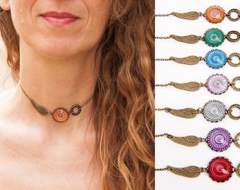 Choker Necklace - Boho Choker Necklace - Boho Bridesmaid Gift - Feather Choker - Believe Necklace - Mandala Necklace - Bohemian Choker