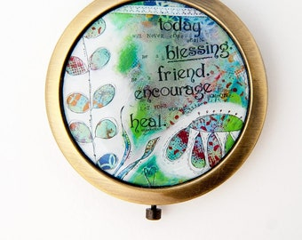 Inspirational Mirror - Compact Mirror - Makeup Mirror - Uplifting Gift - Purse Mirror - Unique Gift For Women - Green Mirror - Mom Gift