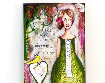 Green Wall Art - Print of my Mixed Media Art - Uplifting Wall Art - Graduation Gift - Print on Wood - Quotes Wall Art -  Inspirational Gifts