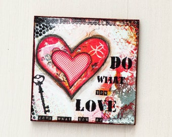 Office Magnets - Heart Magnets - Magnetic Board Art - Office Decor - Refrigerator Magnets - Do What You Love - Inspirational Magnets