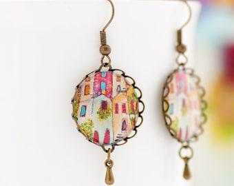 Dangle and Drop Earrings - House Earrings - Colorful Earrings - Cute Earrings - Whimsical Earrings - Summer Earrings - Gifts for Her