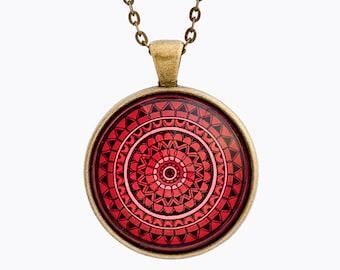 Spiritual Necklace - Mandala Necklace - Mandala Jewelry - Spiritual Jewelry - Red Necklace - Spiritual Gift - Gift for Women - Yoga Necklace
