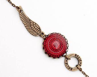 Bohemian Bracelet - Mandala Bracelet - Boho Bridesmaid Gift - Indian Bracelet - Feather Bracelet - Believe Bracelet - Red Bracelet - For Her
