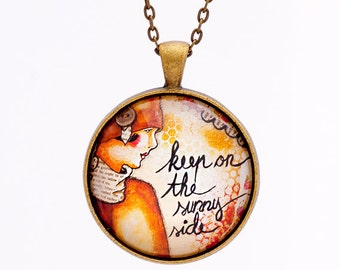 Sunny - Inspirational Necklace - Whimsical Necklace - Positive Affirmation for Women - Quote Jewelry - Uplifting Quotes - Positive Vibes