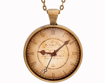 Clock Necklace - Watch Necklace - Steampunk Necklace - Steampunk Gift - Steampunk Clock - Antique Jewelry - Brown Necklace - Unusual Jewelry