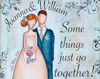 Personalized Wedding Gift - Blue Wedding - Custom Wedding Gift - Couple Name Print - Personalized Gifts - Mixed Media Art - Couples Gift