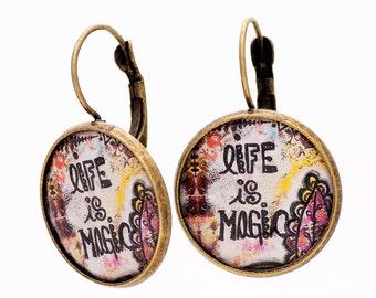 Inspirational Earrings - Boho Earrings - Positive Thoughts - Bohemian Earrings - Inspirational Gift - Spiritual Gift - Whimsical Earrings