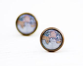 World Map Stud Earrings - Globe Earrings - Blue Map Jewelry - Atlas Earrings - Adventure Jewelry - Gift for Travelers - Post Earrings