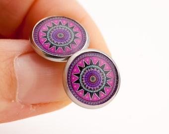 Pink Stud Earrings - Pink Mandala - Mandala Stud Earrings - Mandala Studs - Earrings for Sensitive Ears - Sugical Steel Earrings - Xmas Gift
