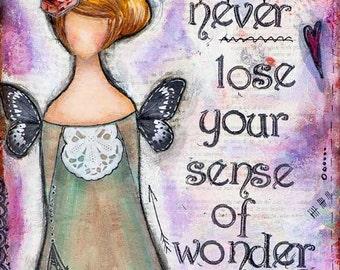 Sense of Wonder Whimsical Art, Whimsy Mixed Media Art, Inspirational Wall Art Affirmation, Violet Girl Wall Art, Collage Art, Butterfly Girl