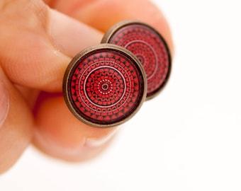 Red Stud Earrings - Red Mandala - Mandala Stud Earrings - Stud Earrings for Sensitive Ears - Surgical Steel Earrings - Dark Red Earrings