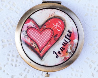 Compact Mirror Personalized - Red Heart - Purse Mirror - Personalized Gift for Her - Bridal Party Gift - Best Friend Gift - Mothers Day Gift