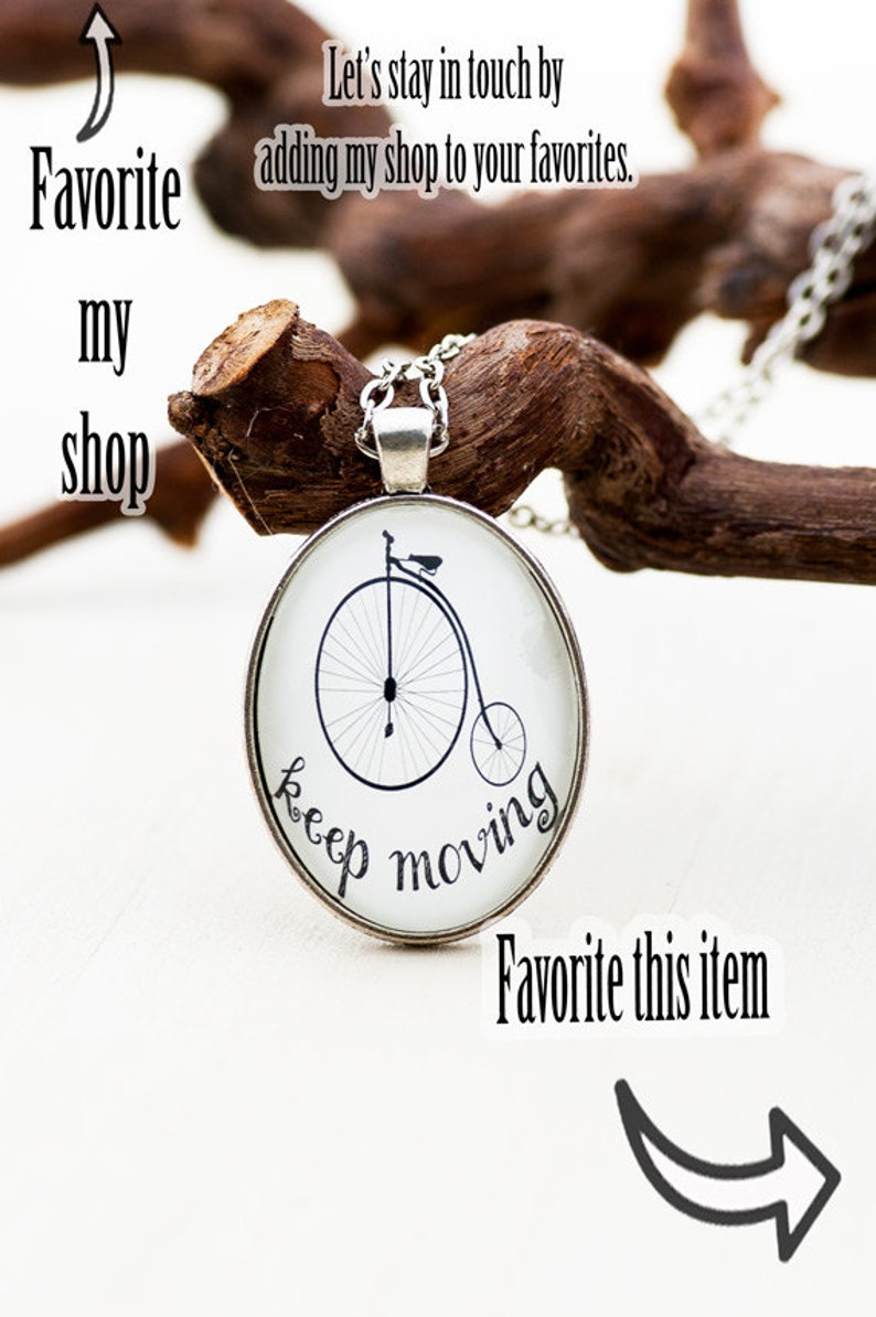 Graduation Gift for Her Penny Farthing Inspirational Necklace Gift for Her Positive Inspiration New Job Gift Keep Moving Forward