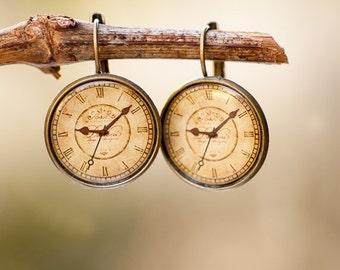 Clock Drop Earrings - Steampunk Jewelry - Unusual Earrings - Old Clock Earrings - Photo Jewelry - Inspirational Jewelry - Steampunk Earrings