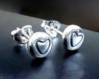 Silver stud earrings, heart stud earrings, silver heart stud earrings, heart stud earrings, handmade silver jewellery