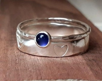 Silver ring, silver heart ring, silver stacking rings, two ring stacking rings, handmade jewellery