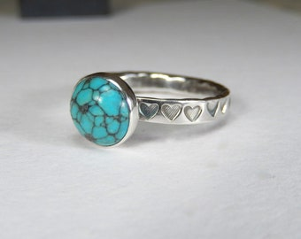 silver turquoise ring, silver hearts ring