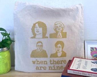 Women Supreme Court Screenprinted Tote Bag (Gold) | Feminist RBG Gifts for Her Handmade
