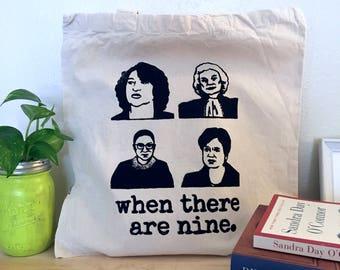 Women Supreme Court Screenprinted Tote Bag (Black) | Feminist RBG Gifts for Her Handmade