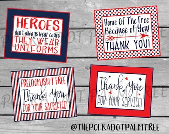 INSTANT DOWNLOAD Printable Veteran Military Patriotic Thank You Cards Notes Thank You For Your Service And Sacrifice Home Of The Free