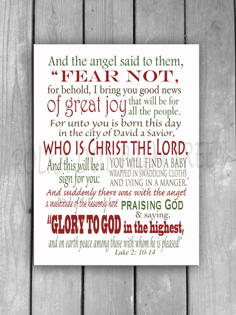 INSTANT DOWNLOAD Luke 2: 10-14 Bible Scripture Fear Not For I Bring You  Good News Christmas Word Art Christmas Decor 8x10 Printable PDF