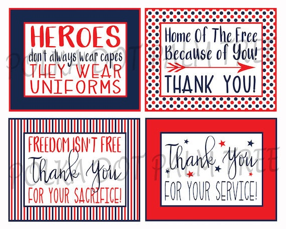 Instant Download Printable Veteran Military Patriotic Thank Etsy