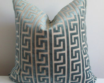 Nate Berkus Greek Key Pillow Cover // Akis Sea Velvet Pillow Cover 18x18, 20x20 Throw Pillow, Accent Pillow  16 22 24 26 Euro